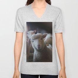 Sheep Looking at Camera Unisex V-Neck