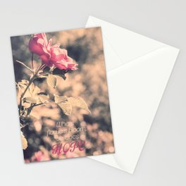 Hope (Hibiscus Pink Rose with Inspirational Quote) Stationery Cards