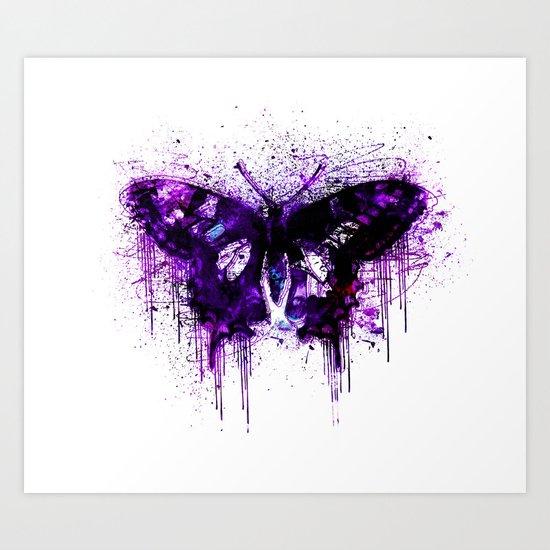 Crazy Butterfly artistic mixed media Art Print