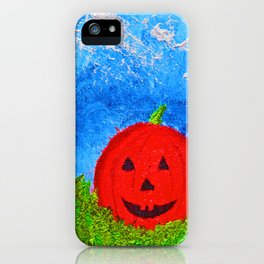 """Ethan's Pumpkin #2"" with Poem: Faces Of Friends"" iPhone Case"