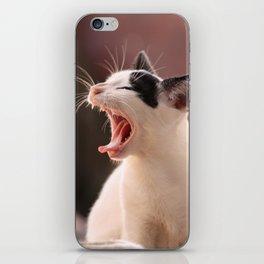 Black and White Cat Yawning iPhone Skin