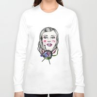 knitting Long Sleeve T-shirts featuring Knitting girl by Linnea Stenlund