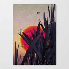 Red Heat with Dragonflies Canvas Print