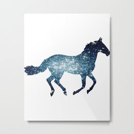 Horse - Running - Galaxy Metal Print