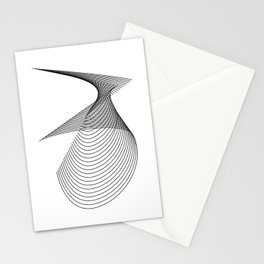 """Linear Collection"" - Minimal Number Three Print Stationery Cards"