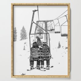 Snow Lift // Ski Chair Lift Colorado Mountains Black and White Snowboarding Vibes Photography Serving Tray