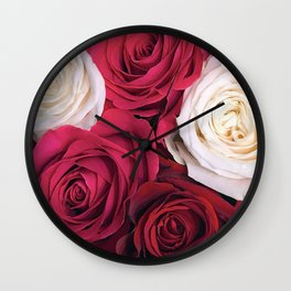 Bordeaux Red and Pink Champagne Roses Wall Clock
