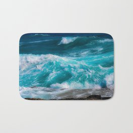 bright blue stormy waters Bath Mat
