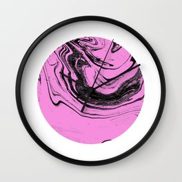 Tombo - spilled ink abstract pink planet circle outer space japanese watercolor marble painting Wall Clock