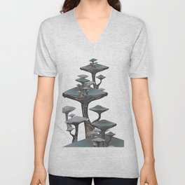 Mushroom Forest Floor Magical Landscape 5 Unisex V-Neck