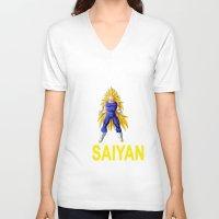 vegeta V-neck T-shirts featuring Train In Saiyan Vegeta  by nicksoulart