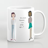 depression Mugs featuring Depression by Case of the Mondays