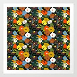 60's Swamp Floral in Midnight Black Art Print
