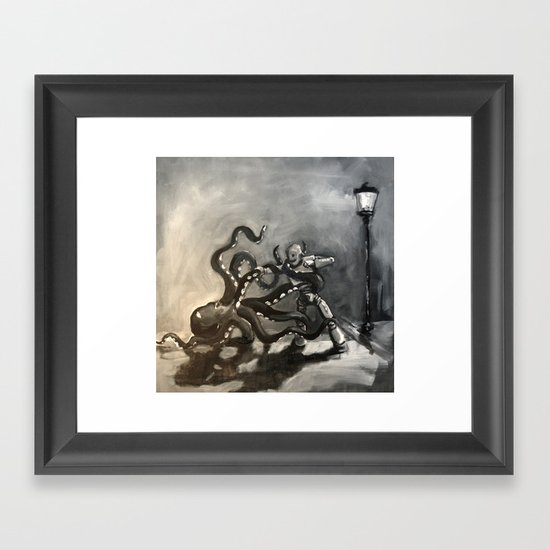 Octopus Wrestling with a Robot Framed Art Print