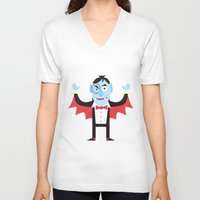 dracula V-neck T-shirts featuring Dracula by Joe Pugilist Design