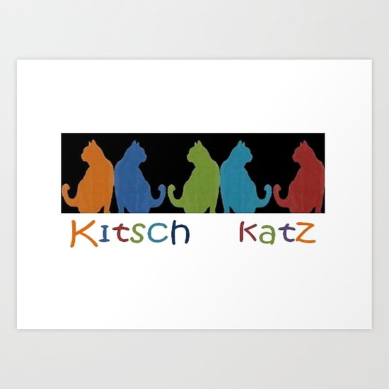 Kitsch Cats Silhouette Cat Collage Pattern on Black  Art Print