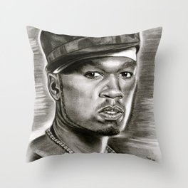 50 Cent in Black and White Throw Pillow