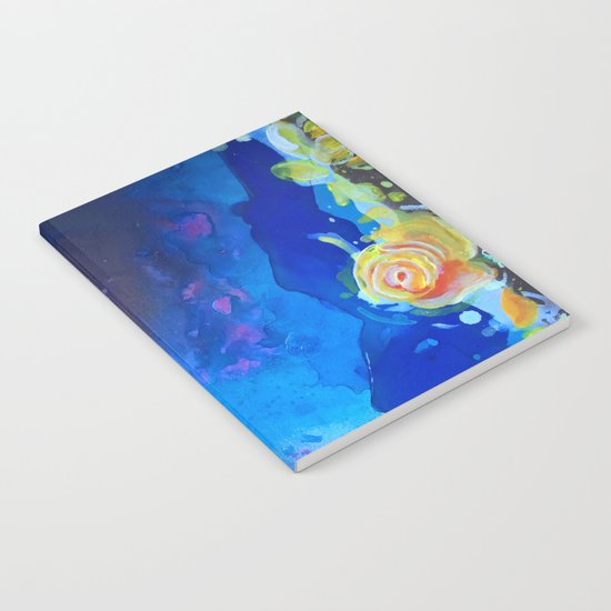 Mad Lucy's Golden Roses. Yellow Roses and Galaxy Blue. Notebook