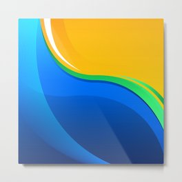 Shades of Blue, Green and Gold Curved Waves Metal Print