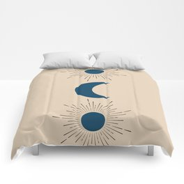 Blue Sun and Moon Comforters