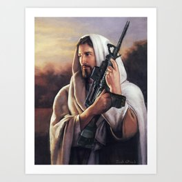 Assault Rifle Jesus Christ Messiah - Who WOuld Jesus Shoot Kunstdrucke