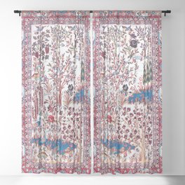 Esfahan Central Persian Silk Rug Print Sheer Curtain