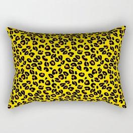 Lemon Yellow Leopard Spots Animal Print Pattern Rectangular Pillow