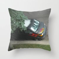 70s Throw Pillows featuring Smokin'! ~ 70s-ish van by helene smith photography