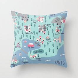 Kanto Map Throw Pillow
