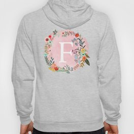 Flower Wreath with Personalized Monogram Initial Letter F on Pink Watercolor Paper Texture Artwork Hoody