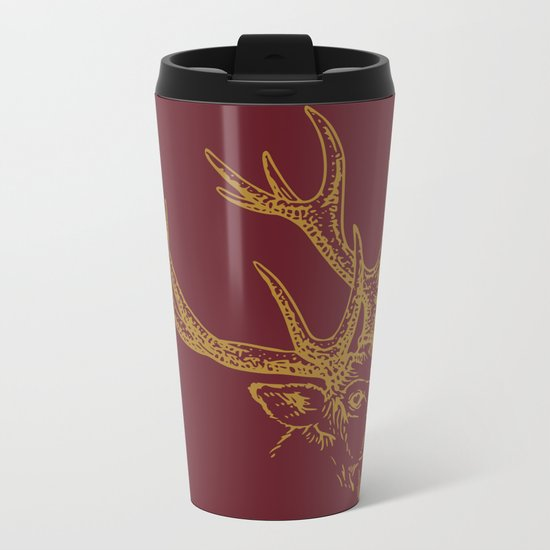 Deer Burgundy Gold Metal Travel Mug