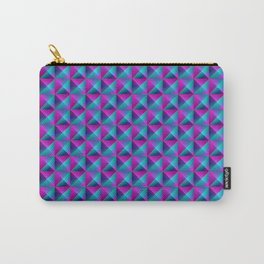 Tiled pattern of dark blue rhombuses and purple triangles in a zigzag and pyramid. Carry-All Pouch
