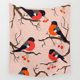 Winter birds red Bullfinches on snowy berry branches pastel peach Wall Tapestry