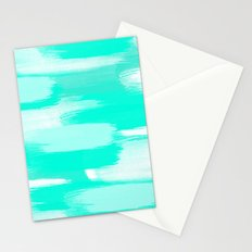 Modern turquoise teal watercolor brushstrokes pattern Stationery Cards