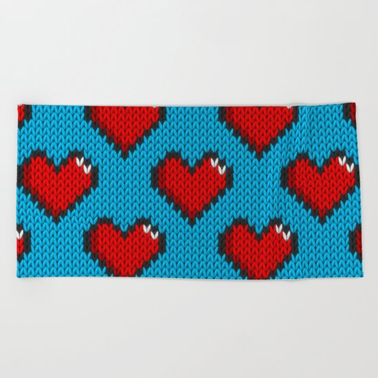 Knitted heart pattern - blue Beach Towel