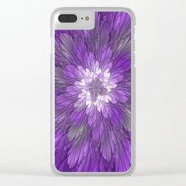 Psychedelic Purple Flower, Fractal Art Clear iPhone Case