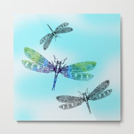 Dragonflies and Blue Skies Metal Print