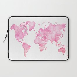 Pink watercolor world map Laptop Sleeve