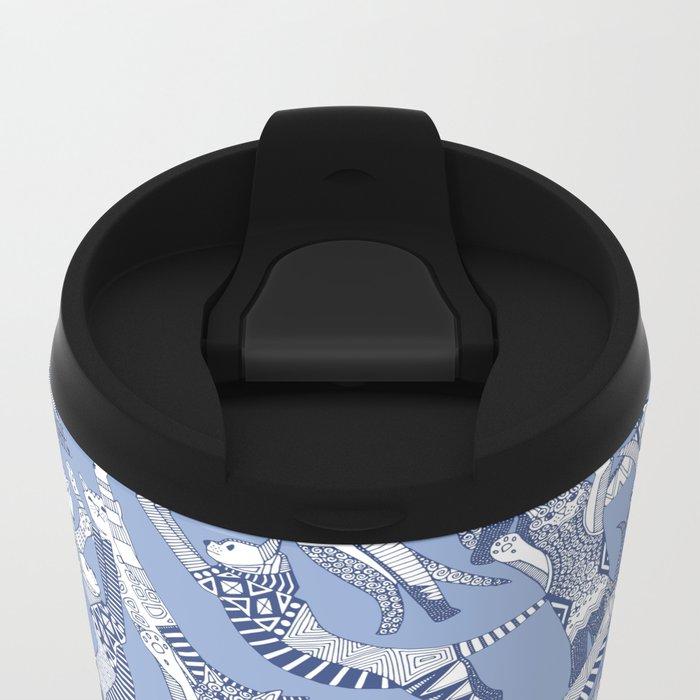 cat party blue Metal Travel Mug