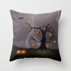 SCARY HALLOWEEN TREE Throw Pillow