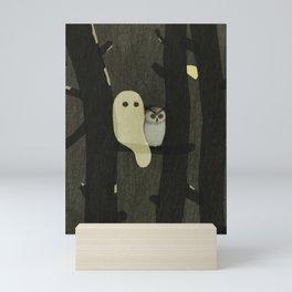 Little Ghost & Owl Mini Art Print