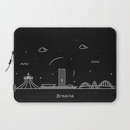 Brasilia Minimal Nightscape / Skyline Drawing Laptop Sleeve