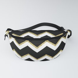 Black Gold White Chevron Pattern Fanny Pack
