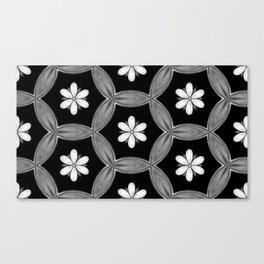 black and white hippie flower pattern Canvas Print
