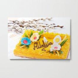 yellow decorative Easter cake Metal Print