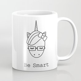 be smart motivational slogan with cute cartoon black and white unicorn with eyeglasses Coffee Mug