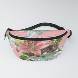 LILY PINK AND WHITE FLOWER Fanny Pack