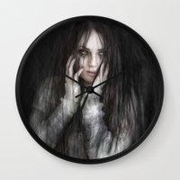 vampire diaries Wall Clocks featuring Vampire by Justin Gedak