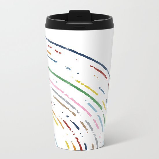 Rainbow Part Disc Metal Travel Mug