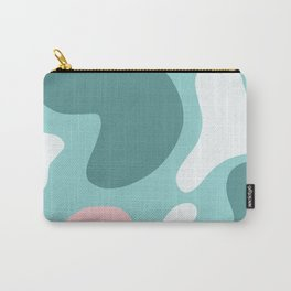 Retro Matte Green with Pink and White Blobs - Funky Abstract Art - Matisse Shapes Carry-All Pouch